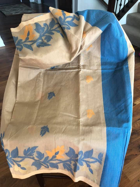 Tan & Azure Blue Handloom Cotton Silk Saree