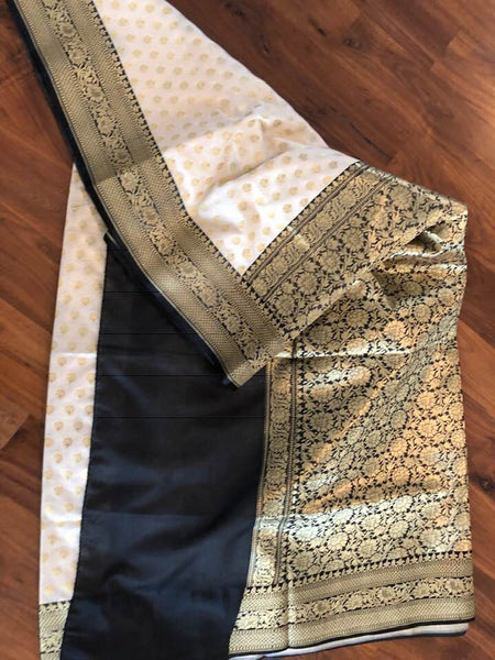 Black and White Golden Banarasi Silk Saree