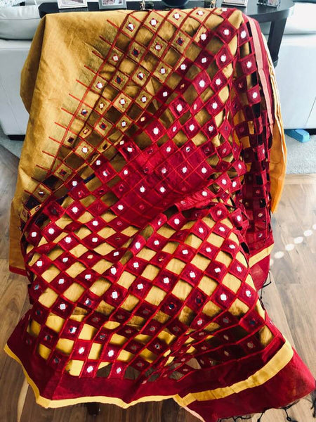 Mustard Yellow and Red Handloom Cutwork Silk Blended Saree with Mirror Work on Body of Saree and Aachal
