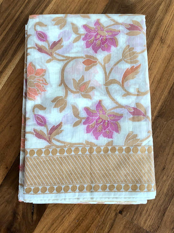 Off White Handloom Silk Cotton Saree with Floral Print