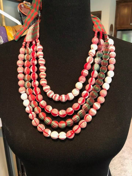 4 Layered Red and White Fabric Necklace Set with Matching Earrings