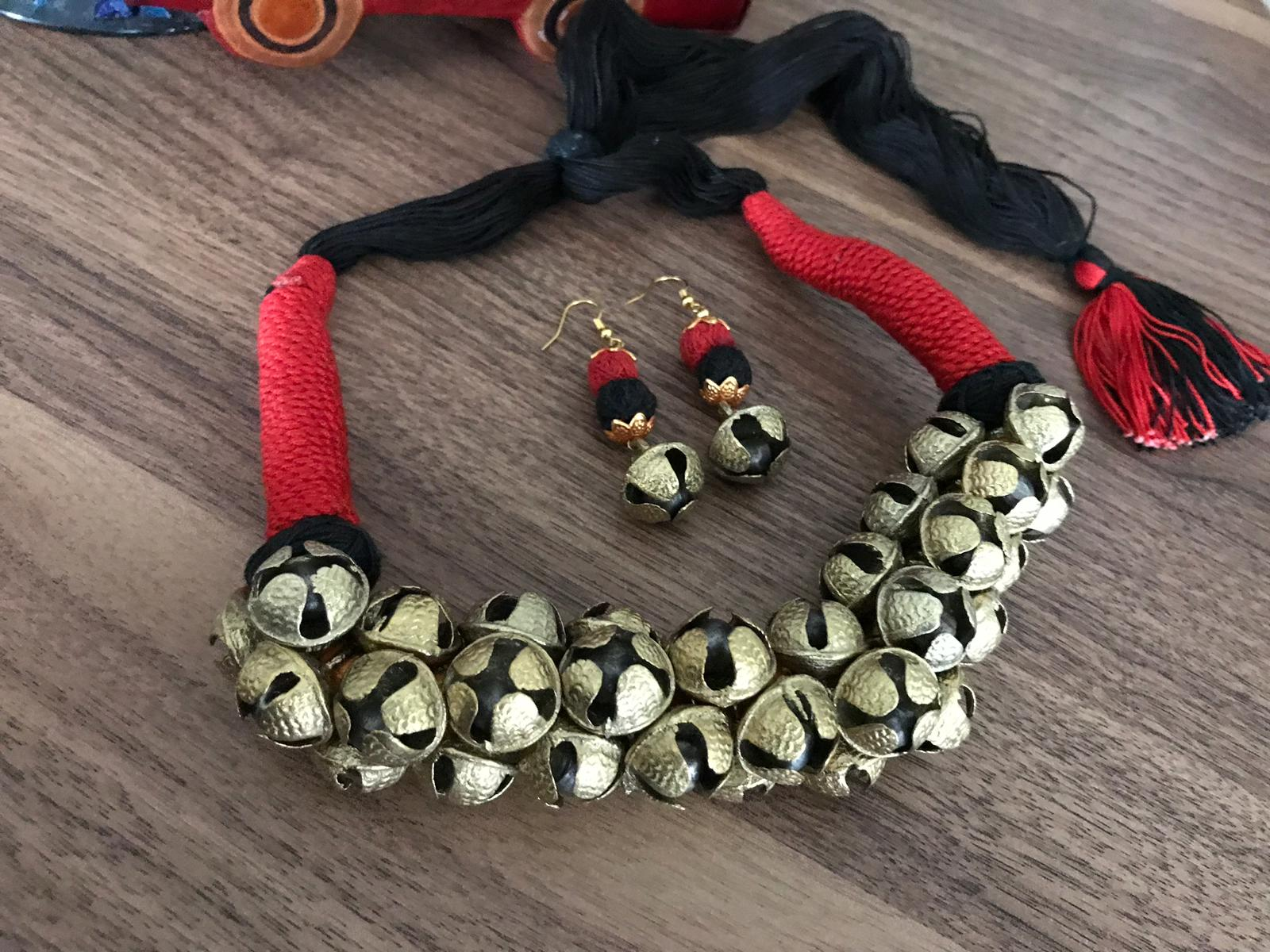 Ghungroo Necklace Set With Black & Red Tassel & Matching Earrings
