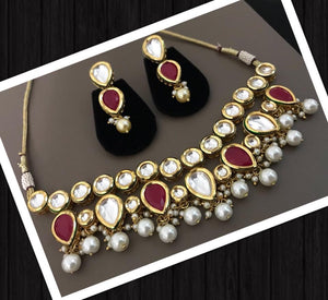 Gold Colored Kundan Choker Necklace Set With Red Stones & White Pearls & Matching Earrings