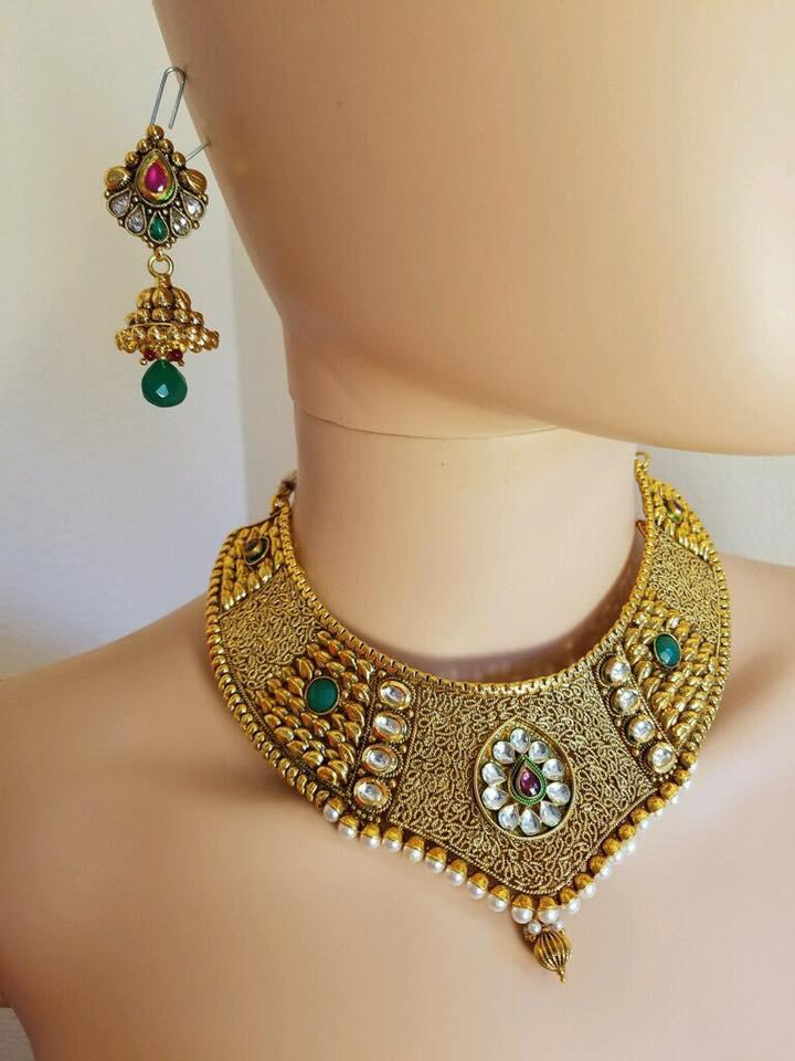 Gold Plated Kundan Choker Necklace Set with Red & Green Stones & Matching Earrings