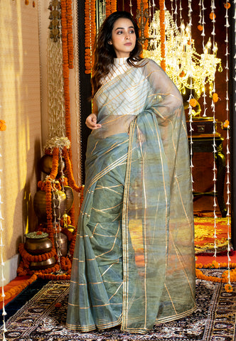 BLUE ON TEAL TIE DYE SAREE WITH GOTA STRIPES AND BORDER
