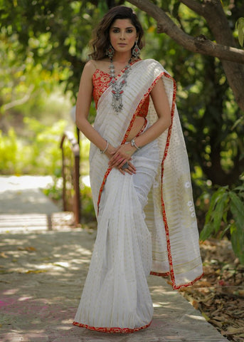 WHITE COTTON PURE JAMDANI SAREE WITH BENARASI PIPING