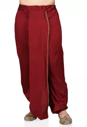 Men's Pure Dupion Silk Dhoti in Maroon and Beige