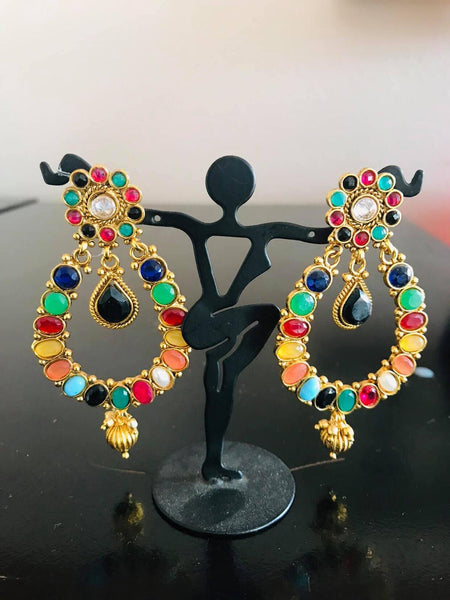 Multicolored Stone Studded Earrings