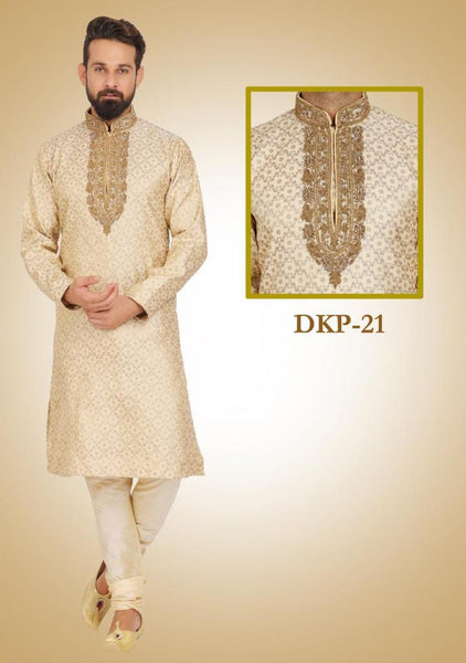 Tan Colored Kurta Pajama Set