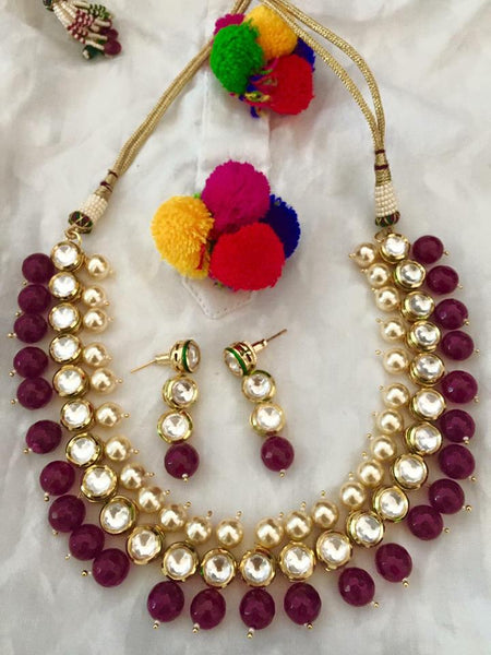 Adjustable Gold Plated Necklace with Earrings