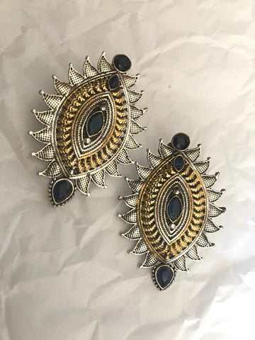 Dual Tone Silver & Gold Earrings with Blue Stones with Intricate Design