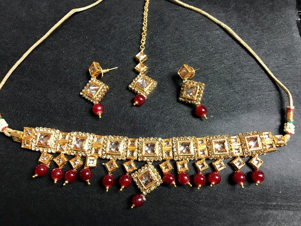 Beautiful Kundan Choker Wedding Collection with Maroon Beads Finish