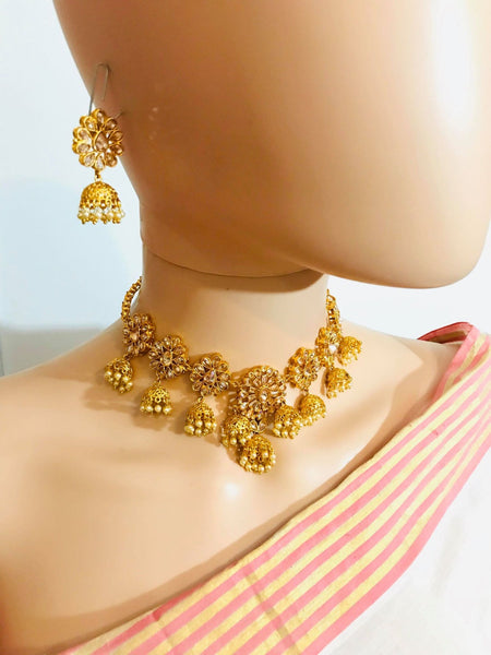 Gold Plated Choker Necklace Set with Jhumkas & Matching Jhumka Earrings