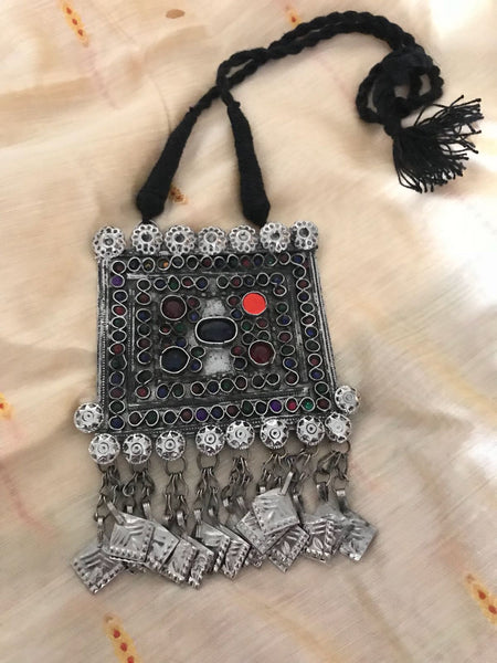 Beautiful Afghani Neckpiece with Black Threading