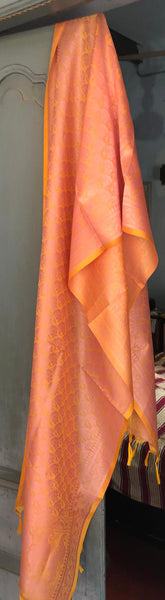 Beautiful Peach/Pink Pure Silk Stole/Dupatta