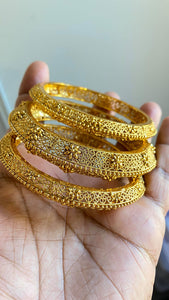 3 Pieces Gold Plated Designer Bangles