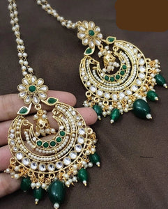 Gorgeous Green Gold Plated Kundan Earrings with White Pearls & Green Beads.