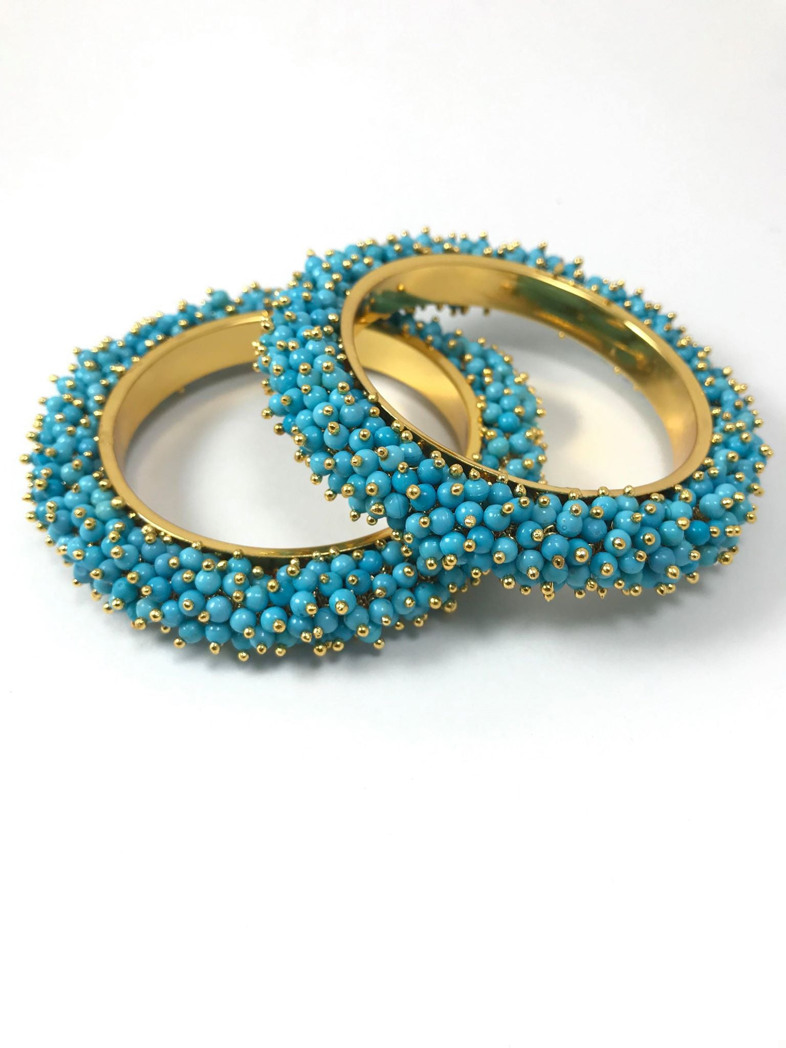Gold Plated Sky Blue Bead Studded Bangle
