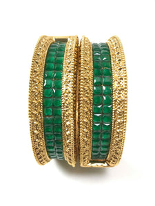 Gold Plated Green Stone Studded Bangle