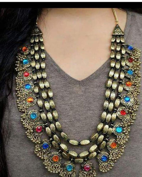 3 Layered Afghan Style Boho Chic Necklace with Multicolored Stones