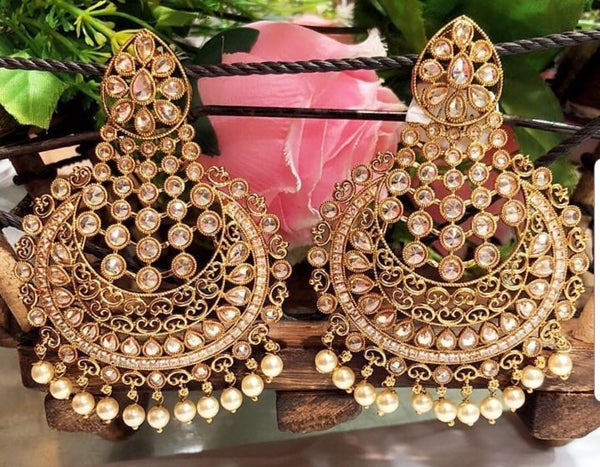Gold Plated Chandbali Kundan Earrings
