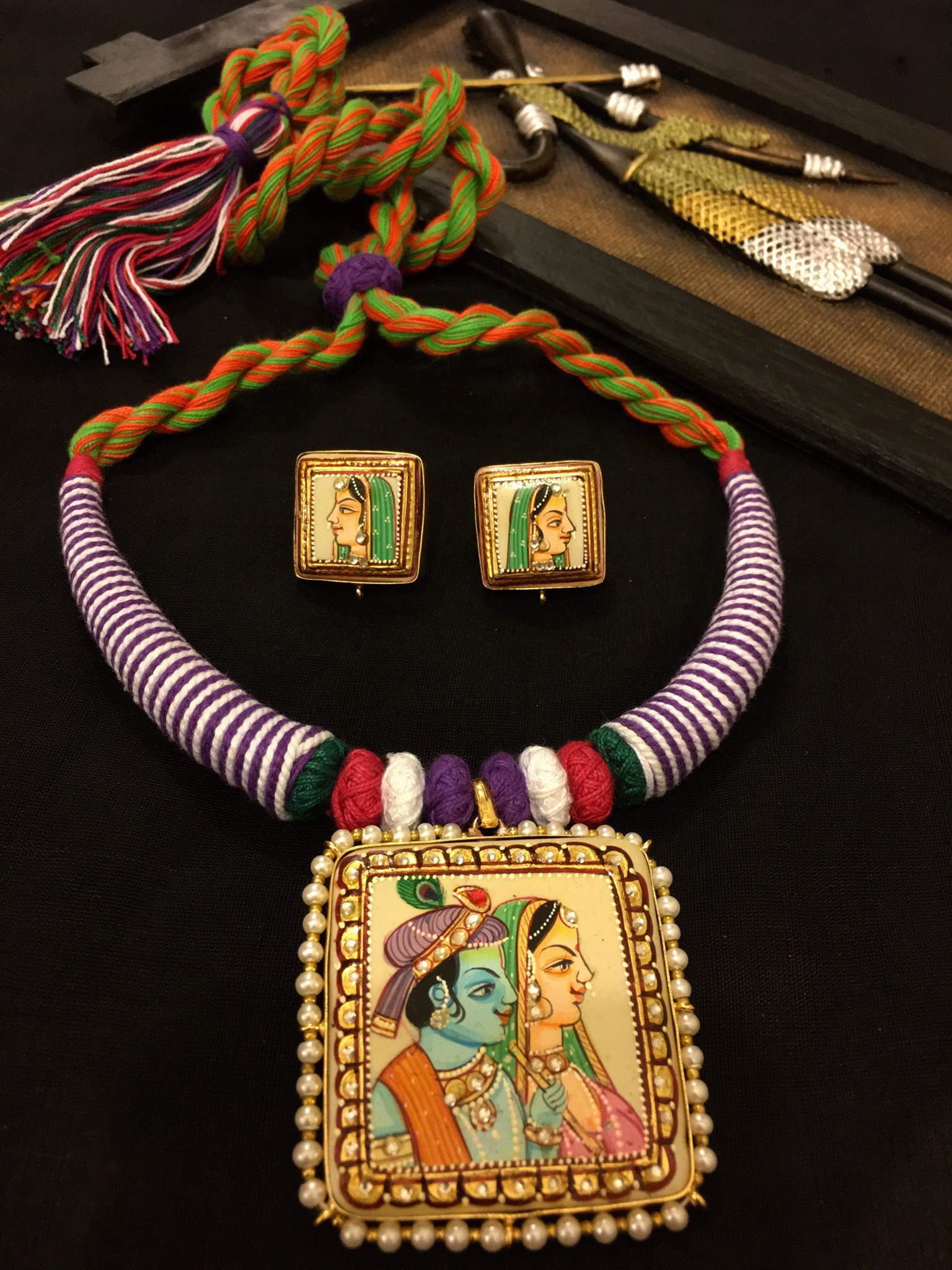 Custom Made Beautiful Radha Krishna Tanjore Sets With Earrings