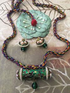 Custom Made Beautiful Meena Set With Multicolor Threadings And Matching Earrings