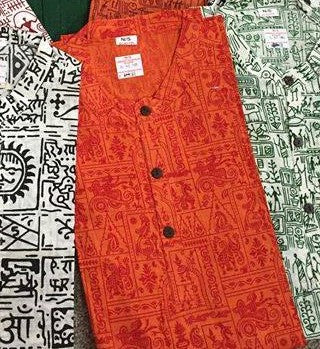 Orange Mens Cotton Short Kurta with Long Sleeves