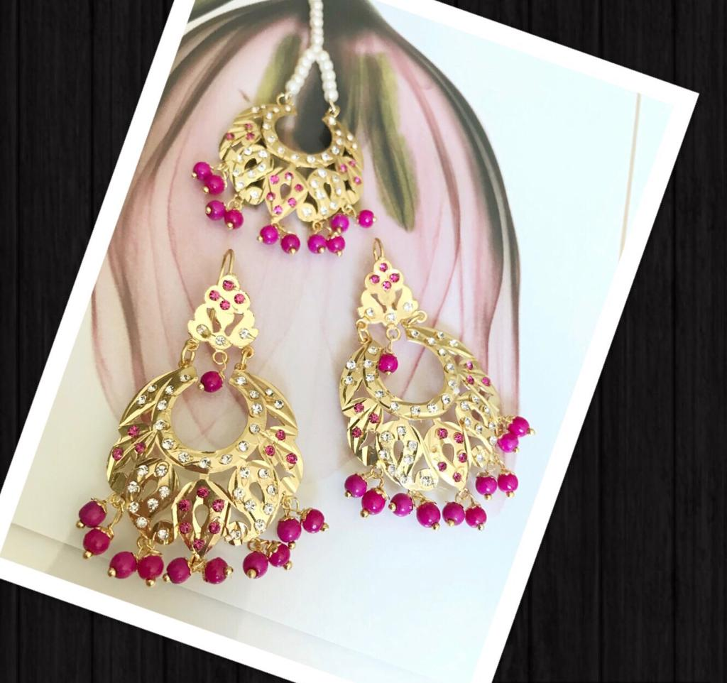 Gold Plated Earrings With Mang Tika & Pink Beads