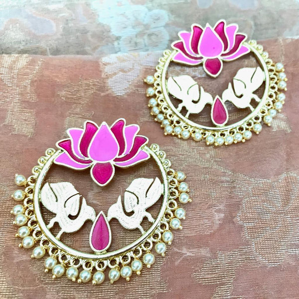 Pink & Red Colored Lotus Shaped Round Earrings with White Pearls