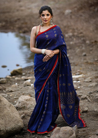 MIDNIGHT BLUE LINEN SAREE WITH JAMDANI WEAVING AND ZARI BORDER