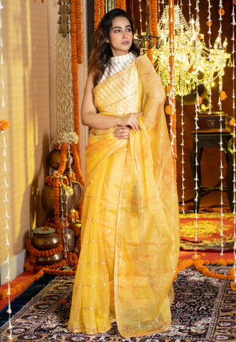 YELLOW TIE DYE SAREE WITH GOTA STRIPES AND BORDER