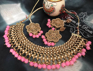 Gold Plated Kundan Choker Necklace Set With Pink Beads & Matching Mang Tika & Earrings