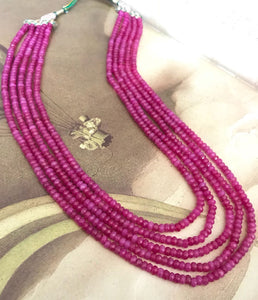 5 Layered Pink Colored Beaded Mala