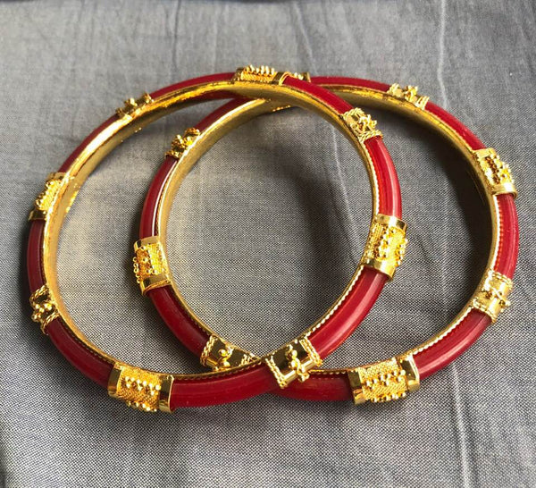 Traditional Bengali Red CitiGold Bangle with Filigree work from Bengal
