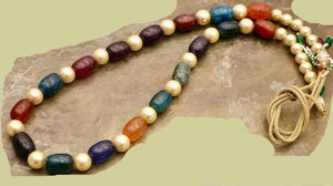 Round And Oval Shaped Semi Precious Stones Beads Mala