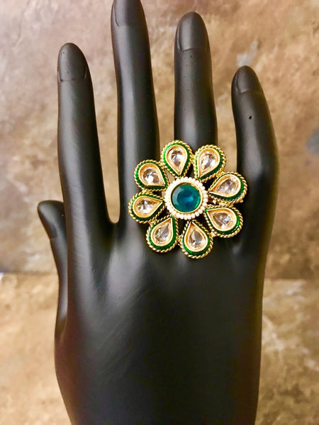 Adjustable Kundan Ring with Green Colored Stone