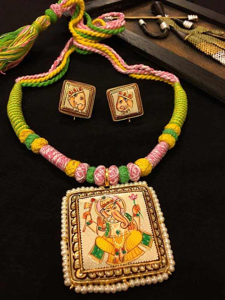 Custom Made Beautiful Ganesh Tanjore Sets With Earrings.