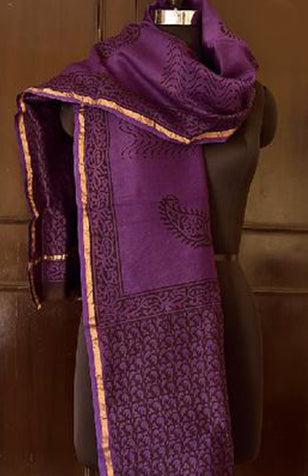 Block printed Violet Chanderi Dupatta from Jyotismata