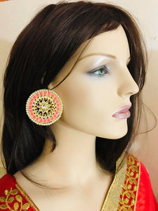 Pink Colored Round Shaped Earrings