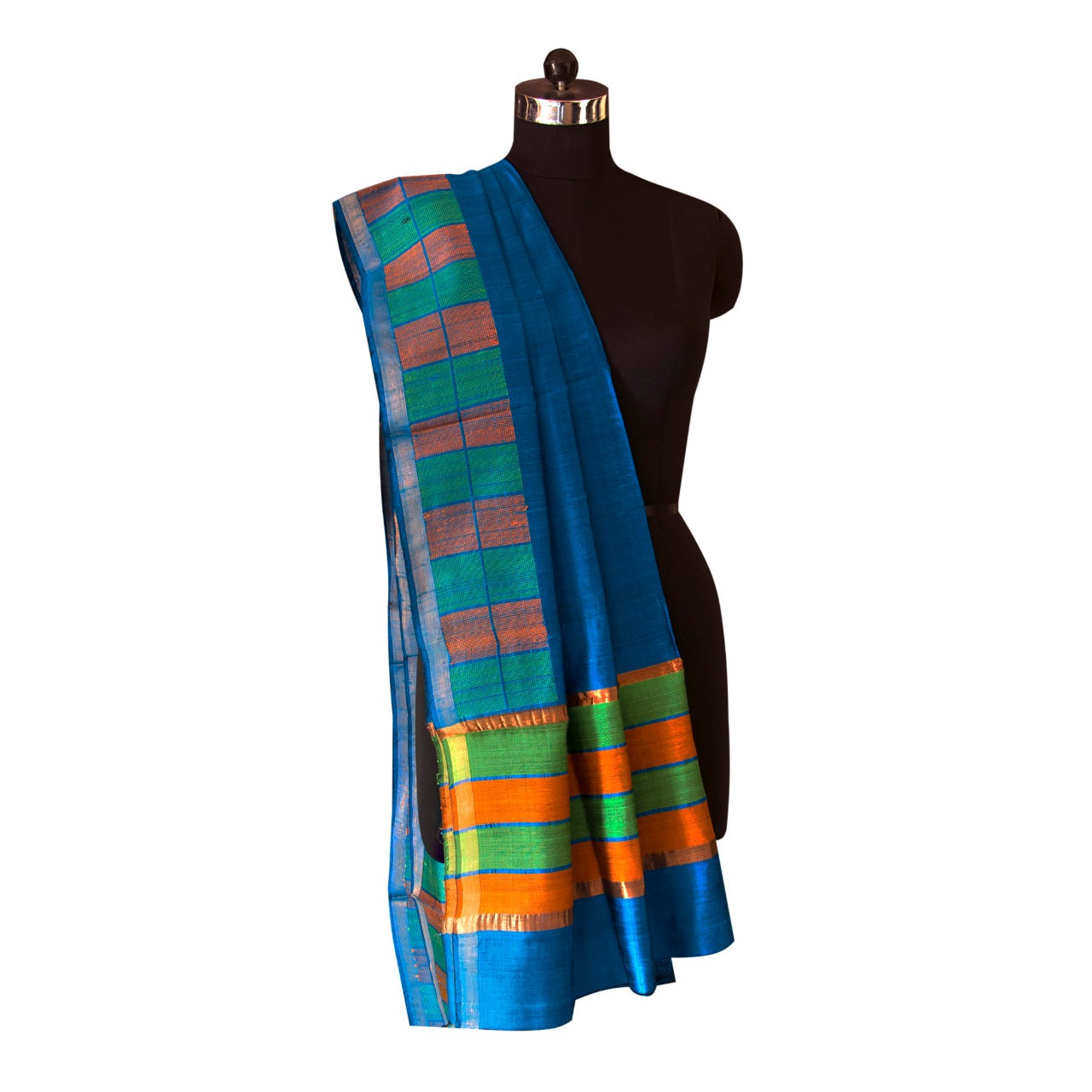 Handwoven Tussar silk Dupatta in Electric Blue Color with Orange and Green color blocked border