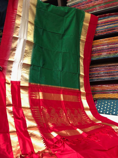 Green Pure Raw Silk Saree Kanjeevaram with Temple Border & with Red & Golden Zari Aachal