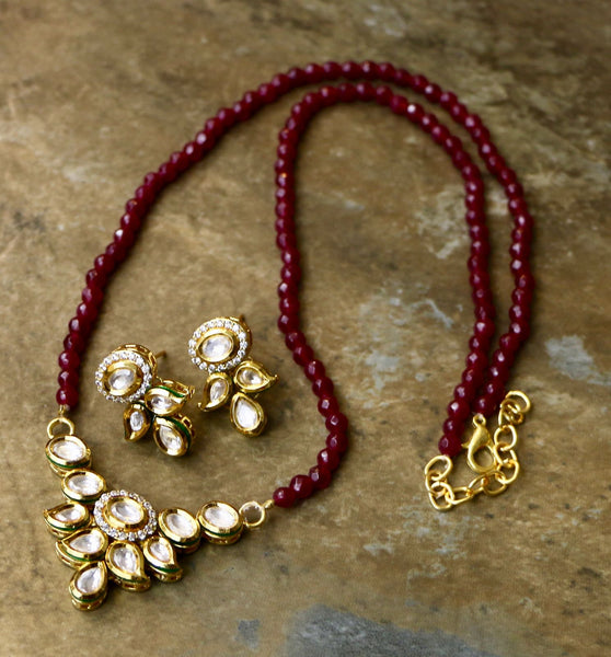 Beautiful Semi Precious Ruby Color Mala with Kundan and CZ Pendant Set & Matching Earrings