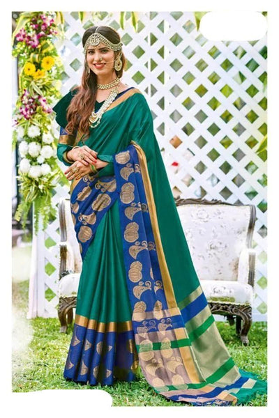 Green Colored Pure Cotton Silk Soft Handloom Saree with Blue Pallu