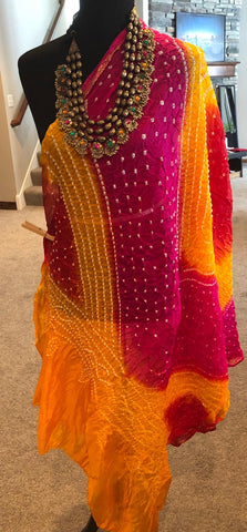Yellow, Pink & Red Bandej Silk Dupatta