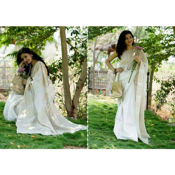 Off-White Colored Pure Handloom Silk Cotton Ghicha Saree