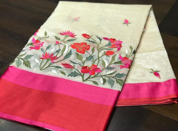 Off White Soft Maheshwari with all over Kashida work and Pink and Red Satin Border