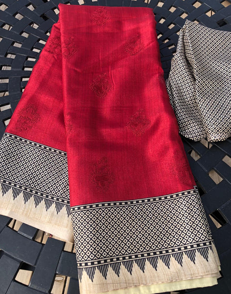 Self Embroidered Maroon/Red Handloom Silk Saree with Black and Off-White Border