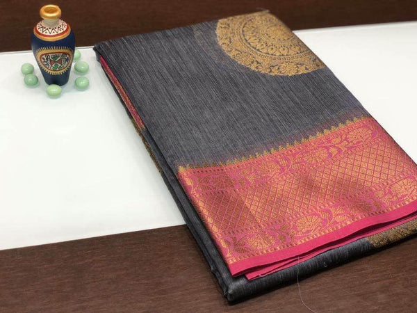 Grey and Pink Colored Paisley Saree with Pink Border & Golden Zari