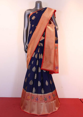 Deep Blue & Pinkish Orange Handloom Silk Cotton Saree